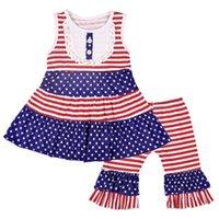 impressão de colete de bebê venda por atacado-Baby Girl Listrado Conjunto Crianças Estrelas Impressão de Manga Curta Set Bandeira Americana Independência Dia Nacional EUA 4 de Julho Terno de Duas Peças