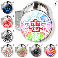 Wholesale chinese faces cartoon for sale - Group buy customized keyring lover birthday gifts Mysterious Ancient Totem Keychain Chinese Double Happiness Word Pendnat Mandala Keyrings