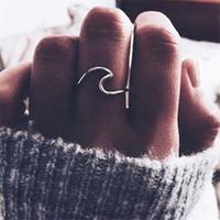 ingrosso abiti di fidanzamento in argento-Anello in lega d'argento Wave Anello nuziale per accessori per gioielli da donna Anello di fidanzamento Abito da donna Anelli da festa Anelli da donna