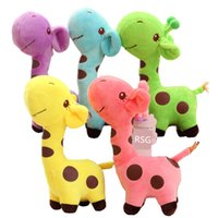 lindos juguetes de jirafa al por mayor-18cm Unisex Cute Gift Plush Giraffe Soft Toy Animal Dear Doll Baby Kid Child Christmas Birthday Happy Colorful Gifts5 colores