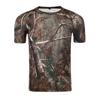 Wholesale tactical camo shirt resale online - New Outdoor Hunting T shirt Men Breathable Army Tactical Combat T Shirt Dry Sport Camo Camp Tees Tree camouflage