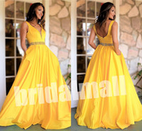 Wholesale open sexy pictures resale online - Vestidos De Festa Yellow Satin Long Prom Dresses With Pockets V Neck Ball Gown Party Dress Open Back Beaded Sash Formal Evening Gowns