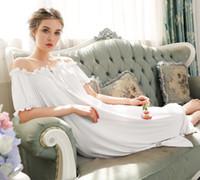 frauen s weiße baumwoll-nachthemden großhandel-Sexy Schlafabnutzung Nachtkleid Vintage Nachthemd Langarm Nachthemd Weiß Baumwolle Nachtwäsche Frauennachthemd