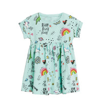 Wholesale cute rainbow dress for sale - Group buy Ins Hot Baby Girl Cotton Dresses Unicorn Rainbow Happy Days Print Cute Batwing sleeve T T T T T T Summer New