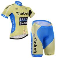 Wholesale saxo bank short sleeve jersey resale online - SAXO BANK team Cycling Short Sleeves jersey bib shorts sets Lycra summer MTB Clothes Bike Wear Comfortable breathable quick dry