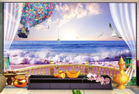 Wholesale mountain decor for sale - Group buy 3D Wall Mural Wallpaper Home Decor Green Mountain Waterfall Three dimensional sunset seaside D Photo Wall Paper For Living Room Bedroom