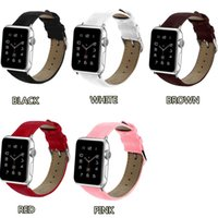 Wholesale crocodile leather watchband for sale - Group buy 44 mm Crocodile Grain Leather Watch Bands L Wrist Strap Smart Watchband for Apple iWatch Series Replacement with Opp Bag