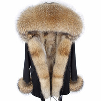 warmer wintermantel pelzfutter großhandel-2018 neue Lange Mode Winterjacke Frauen Lange Echte Fuchspelzmantel Warme Pelz dicken ParkasNatural Waschbärkragen Echt Gefüttert