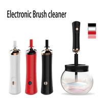 elektronik temizleme fırçaları toptan satış-Moda Eelectronic Makyaj fırça temizleyici ve kurutma Temizleme Makinesi Toz Göz Farı Fosforlu elektronik makyaj fırça yıkama araçları