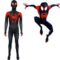 Wholesale lycra spandex costumes for sale - Kid Adult Miles Morales lnto the Spider verse Costumes Custom D Printed Symbiote Spider Man Lycra Cosplay Costume Zentai Spidey Suit