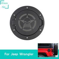 calaveras de metal negro al por mayor-Tapa del depósito de combustible Skull Black para Jeep Wrangler de 2007 a 2017 Accesorios exteriores para automóviles ABS Metal