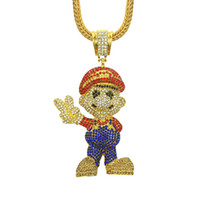 mario cartoons venda por atacado-Mario cristal strass pingente de colar de corrente de colar dos desenhos animados colar de jóias de hip hop bling banhado a ouro pingente para fora pingente