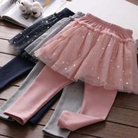 falda chica pantalones ajustados al por mayor-Nuevo diseño para bebés niñas tutus estrellas imprimir niña princesa faldas pantalones niños primavera pantalones legging pantalones bebés medias lindas con vestido de malla