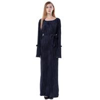исламская одежда джилбаб абая оптовых-Muslim Islamic Maxi Dress Arab Clothing Dubai Style Black Abaya Jilbab sukienka damska plus size #M3Y5