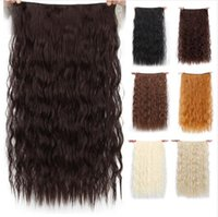 Wholesale dark brown blonde clip for sale - Group buy 5 Clips Synthetic Hair Long Corn Curly Blonde Clip In Hair Extensions False Brown Black Hair Pieces for Women