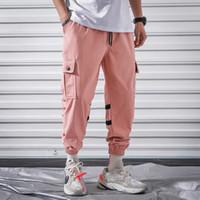 pantalon harem rosa al por mayor-Cargo Harem Pink Pants Mens Casual Joggers Pantalones holgados Harajuku Streetwear Hip Hop Pants Hombres Moda y Casual