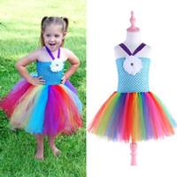 bebek kız el yapımı tutu elbisesi toptan satış-Perakende çocuk prenses elbise bebek kız renkli gökkuşağı el yapımı dantel tutu kısa gelinlik tatil abiye çocuk giysileri