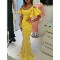 vestidos de baile de finalitos pequenos e inchados venda por atacado-Mermaid Prom Dress Designer Prom Dresses Vestidos De Formature Amarelo decote quadrado curto Puffy luva Mermaid Evening vestidos