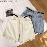 jeans coreano venda por atacado-OCEANLOVE Tassel Desgastado Mulheres Sólidos Calções Cinto De Cintura Alta 2019 Verão Denim Curto Zíper Coreano Chique New Casual Bottoms 11126