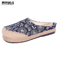 ingrosso scarpe piatte cotone cinese-Pantofole di lino delle donne Appartamenti morbidi vintage cinesi Casual Slip On Punta rotonda Tessuto in cotone Canvas Shoes Donna Plus Size