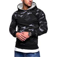 homens hoodie casaco venda por atacado-Magro Inverno Hoodie morno casaco com capuz A camisola dos homens Hoodies Camo Moda de Nova Outwear Outono Inverno Homens Overcoat Casual