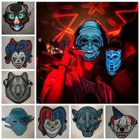 ses kontrolü toptan satış-M20 renkler Cadılar Bayramı Cosplay EL Maskesi Led Ses Kontrolü Yaratıcı Soğuk Işık Masquerade Birçok Tarzı Ile Taşınabilir Esnek MMA532 12 adet