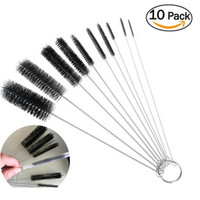 Wholesale stainless pipe tube resale online - 10pcs Drinking Straws Cleaning Brushes Set Nylon Pipe Tube For Bottle Keyboards Jewelry Stainless Steel Handle Clean Brush Tools DBC BH3467