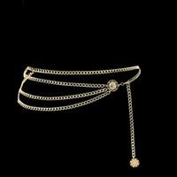 bel kalça zinciri toptan satış-Kadın Moda Kemer zincir kemer Kalça Yüksek Bel Altın kadınlar için Dar Metal Zincir Tıknaz Saçaklar kemerler