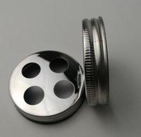 ingrosso portabiti in acciaio inox-Coperchio portaspazzolino a bocca regolare in acciaio inossidabile per barattoli di vetro (vaso non incluso)