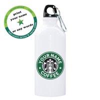 cooler karabiner groihandel-Lustige Kreative Name Anpassen Kaffeeflasche 600 ml Aluminium Reiseflasche Wasser Outdoor Sport Radfahren Kühle Flasche Mit Karabiner Y19070303