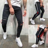 jeans skinny noirs à fermeture éclair hommes achat en gros de-Mens Cool Designer Marque Black Jeans Skinny Cheville Zipper Stretch Slim Fit Hop Hop Pantalon Avec Pantalon À Rayures Latérales Pour Hommes