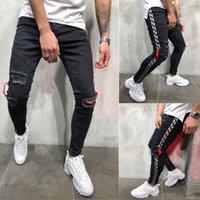 zíper preto magro jeans homens venda por atacado-Mens Designer Legal Marca Calça Jeans Skinny Tornozelo Com Zíper Trecho Slim Fit Hop Hop Calças Com Listra Calças Laterais Para Homens