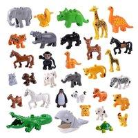 zoo spielzeug großhandel-Legoing Große Bausteine Zootier Modell Deer Panda Elephant Penguin Diy Dinosaurier Figuren Spielzeug Für Kinder Kompatibel Duploed