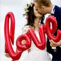 folha de balão de valentim venda por atacado-Valentine Day balões decorativos Siamesed carta de amor Foil Balloon 108 * 64cm carta de amor Balloons for Wedding Party Natal Suprimentos Novo