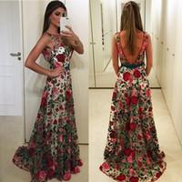 maxi elbise modern toptan satış-2019 Yeni Geliş See Through Zarif Kolsuz Backless Çiçek Dantel Uzun Maxi Balo Elbise Abiye giyim