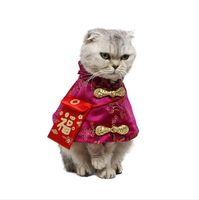 chinesisches neues jahr rote kleidung großhandel-Haustier Katze Chinese Tang Kostüm Hochwertige Neujahrskleidung mit roter Tasche Festlicher Mantel Herbst Winter Warme Outfits für Katzen Hund