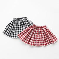 2f0e7b08e4 Falda de las muchachas Rojo Negro Plaid Kids Falda 2019 Nueva marca de  otoño Ropa para niños Casual Suave Bebé Faldas de algodón Ropa