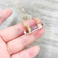 Wholesale mineral necklaces resale online - Quartz Crystal Double Point Horizontal Pencil Crystal Necklace Mineral Hexagonal Rose Quartz Necklace Hexagonal Pendant