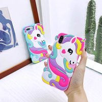 Wholesale 3d case animals resale online - 2019 D Unicorn Cute Cartoon Animals Soft Rubber Silicone Shockproof Drop Protection Kawaii Bumper Case Cover For iPhone X XS Max XR