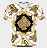 neuheit gedruckte t-shirts großhandel-2019 neueste Neuheit 3D Goldene Kette Druck Barock Marke T-shirt Sommer Stil Kurzarm Luxus Royal Männer Kleidung Hip Hop Tops Tees Q747
