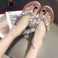 perle rose talons hauts achat en gros de-Pearl Women Tongs Chaussures de plage Casual Plateforme Sandas Chaussures compensées pour femmes Talons hauts