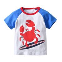 camiseta naranja bebé al por mayor-Últimas prendas de vestir Infant Baby Baby Summer Boy cangrejo Diseño Camiseta de dibujos animados Bloque de color naranja Camisas de colores surtidos