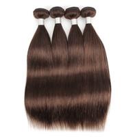 ofertas de paquetes de tejido virgen al por mayor-# 4 Ofertas de paquetes de cabello liso de color marrón mediano Brasileño Virgen cabello humano teje 3 o 4 paquetes de 12-24 pulgadas 100% Remy extensiones de cabello humano