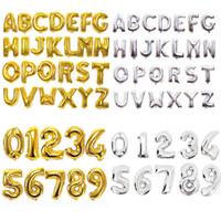 Wholesale alphabet party decorations for sale - Group buy 32inch Number Letter Balloons Aluminium Film Gold Silver Alphabet Air Balloons Digital Globos Birthday Party Decoration OOA6829
