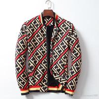 çift fermuar süveter ceketi toptan satış-2018 çift F diyagonal mektup şerit erkek artı kadife beyzbol yaka fermuar kazak ceket