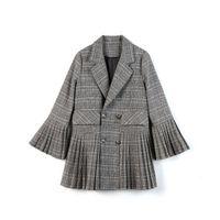 колокольчики оптовых-Women Fashion Plaid Suit Coat Seasons Pleated Skirt Bell sleeve Female Vintage Lapel V-Neck Patchwork Blazers