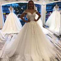 Wholesale champagne wedding dresses lebanon for sale - Group buy Off the Shoulder Ball Gown Wedding Dresses Dubai Arabic Turkey Lebanon Appliqued Gorgeous Bride Wedding Gowns Plus Size Customized