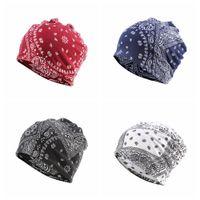 Wholesale bandanna scarf for sale - Group buy 2 in Paisley scarf hat Bandanna outdoor cap Windproof ear muff cap flower print pile cap Hip hop unisex fashion hatsFFA4201