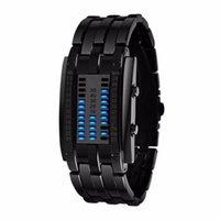 ikili siyah saatler toptan satış-Taşınabilir Dijital İkili İzle Erkekler Kadınlar Unisex Paslanmaz Çelik Tarihi Siyah LED Bilezik Spor Saatleri