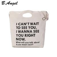 Wholesale english handbag resale online - Women s Large Capacity English Letter Printing Canvas Portable Shoulder Crossbody Handbag Small Fresh Art Casual Bag Girl s School Bags